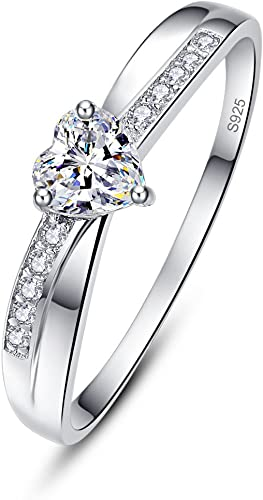 Women Solid Sterling Silver Promise Tiara Engagement Rings With Cubic Zirconia