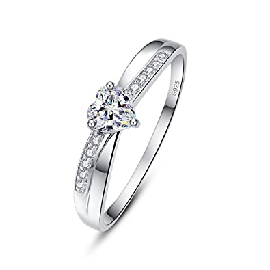 AVECON Heart Cut Cubic Zirconia 925 Sterling Silver Eternity Birthday Band  Ring for Women Size 5 0ed6c30071