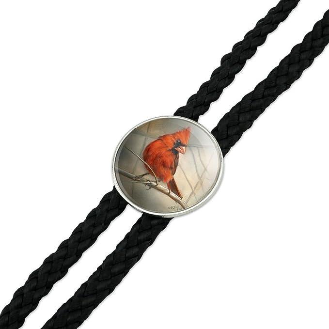 Cardinal Red Bird on Tree Branch Western Southwest Cowboy Necktie Bow Bolo Tie