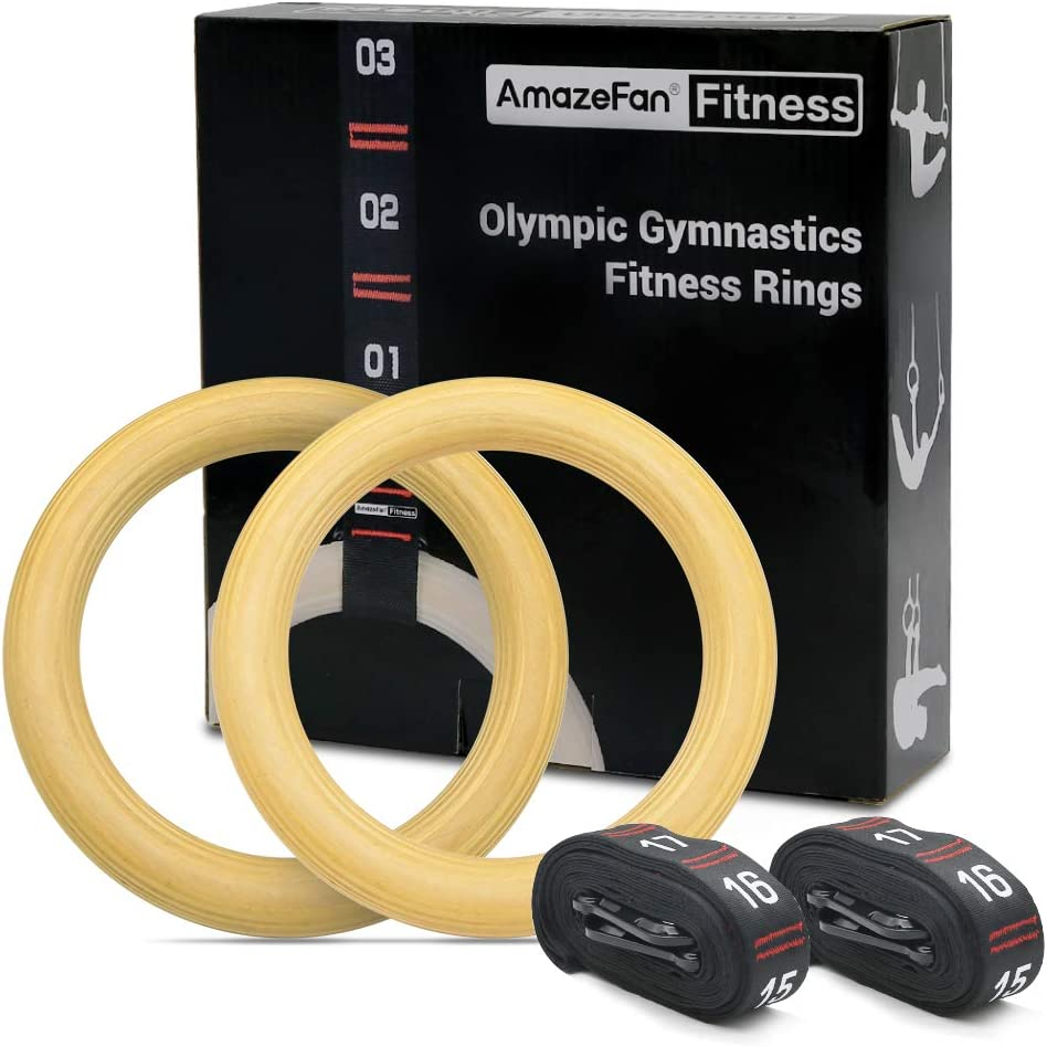 "AmazeFan Wood Gymnastic Rings with Quick Adjustable Cam Buckle and 7.5ft L/1.5"" W Numbered Straps, 1.25"" Gym Pull up Rings 1600lbs for Home, Gym, Crossfit, Bodyweight Training, Full Body Exercise"