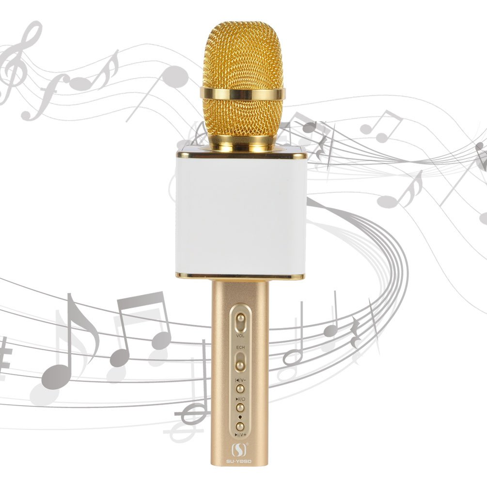 Professional Karaoke Machine YS-10 Wireless Microphone Karaoke Upscale Aluminum Alloy Real 2200 mAh USB TF Portable Karaoke Microphone for iPhone/Android/PC by SU·YOSD (White Gold) SU·YOSD