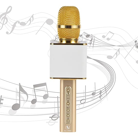Review Professional Karaoke Machine YS-10 Wireless Microphone Karaoke Upscale Aluminum Alloy Real 2200 mAh USB TF Portable Karaoke Microphone for iPhone/Android/PC by SU·YOSD (White Gold)