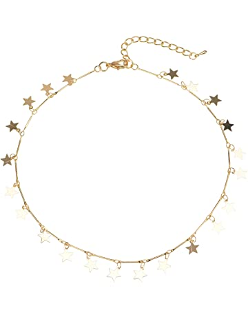 Manerson Lucky Star Choker Necklace Pendant Disc Chain Statement Necklace  For Woman Jewellery Gold Tone 60b09f972268