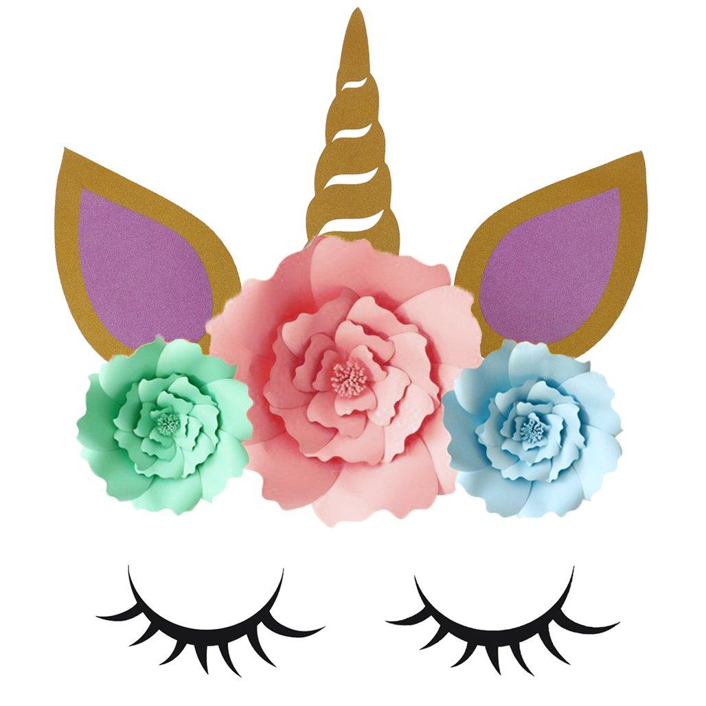 PartyYeah 1 Set of Unicorn Background Unicorn Wall Decor, Unicorn Party Decorations Backdrop Large Horn Ears Eyelashes Face Birthday Party Flower