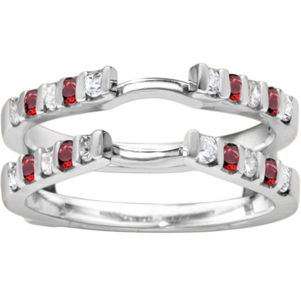 Genuine Ruby Traditional Style Cathedral Wedding Ring Guard Enhancer with 0.5 carats of Diamonds (G-H,I2-I3) and Ruby in Sterling Silver