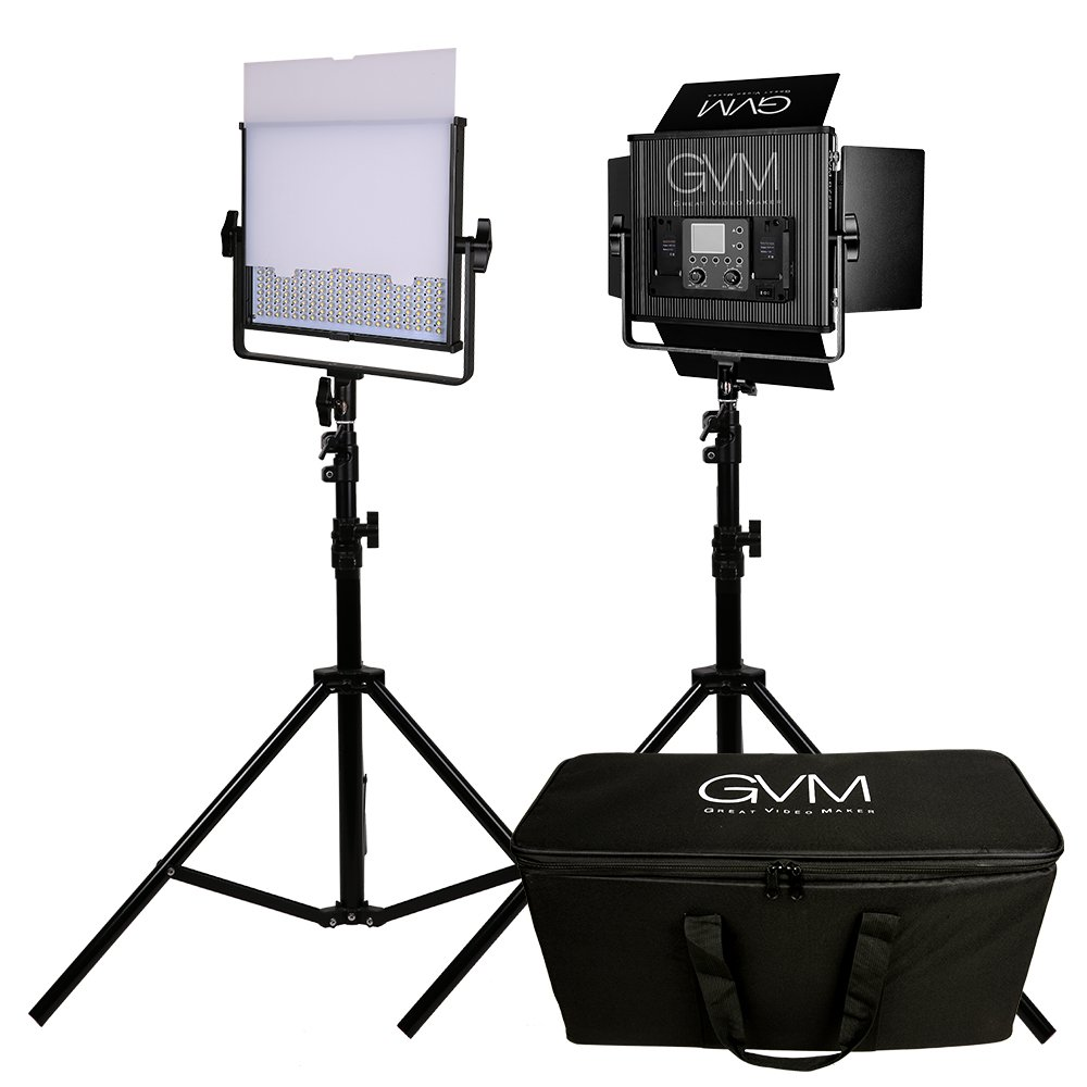 Newest Version LED Video Light GVM520S 2 Sets Kit CRI97 3Color Temperature 3200-5600K With Digital Display For Video Making Photography Lighting And Location Shooting( 2 Video light + 2 Light stand )