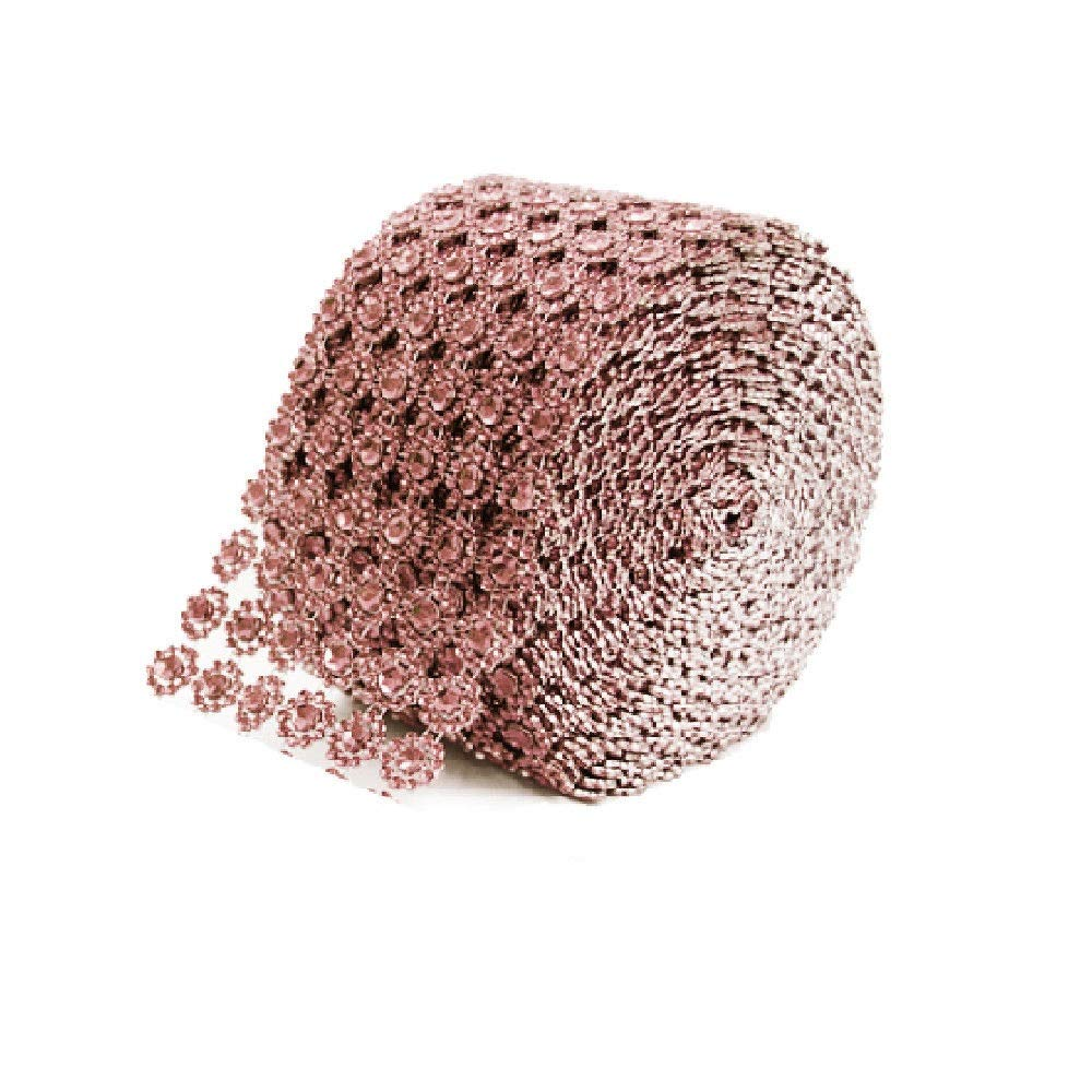 craftandparty12 Rose Gold Diamond Flower Bling Mesh Rhinestone Decoration Ribbon Wrap 4 inch by craftandparty12