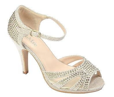 7b735e8829d Chicastic Glitter Rhinestone Pumps T- Strap Peep Toe Women s 4.5 quot  High Heel  Platform Bridal