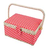 SAXTX Classic Polka Dot Medium Sewing Basket with Tray - Include 31 Pcs Sewing Kit Accessories | Red Wooden Storage Organizer Sewing Boxes for Girls | 9.6'' x 7'' x 5.3''