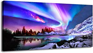 BYXART Large Canvas Wall Art – Aurora Borealis Nature Wall Art Room Wall Pictures for Bedroom Modern Scenery Painting Print Artwork Landscape Wall Decorations for Office Living Room Décor (24x48inx1)