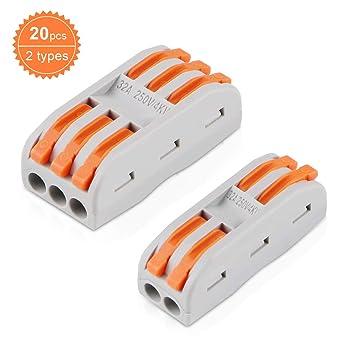 Lot x10 Raccords Bornes Eléctrique Automatique WAGO 3 Entrées Câble 1 à 2,5 mm²
