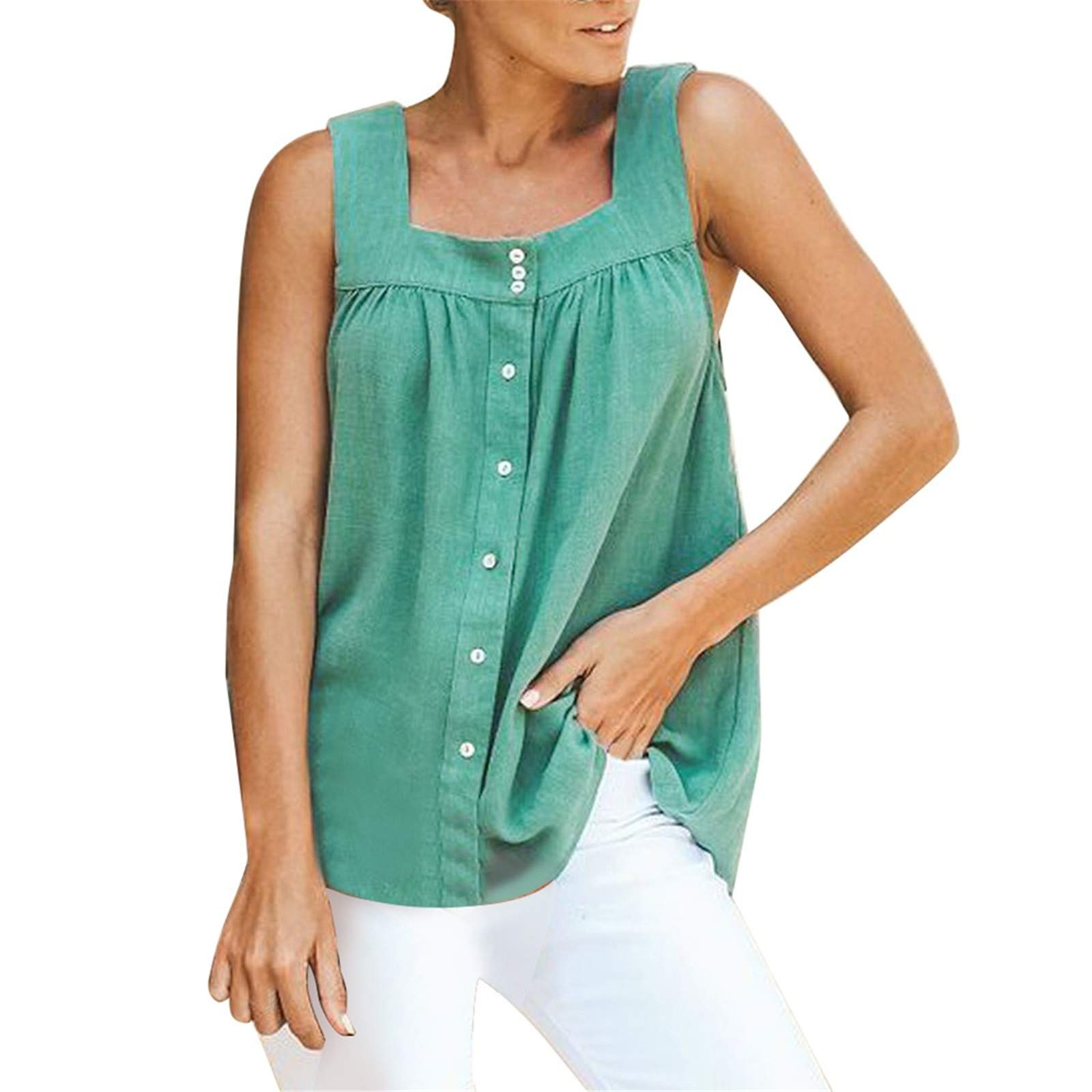 wodceeke Womens Tank Top,Summer Soild Button Pleated Sleeveless camisole Tops(Green,L)