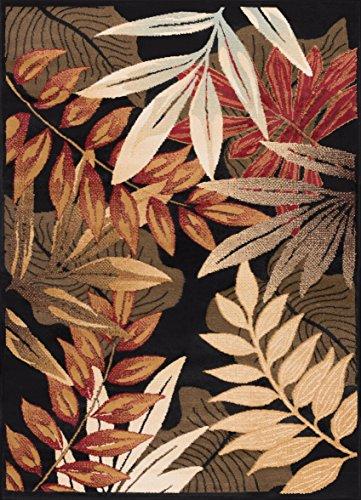 (Pomona Transitional Botanical Black Rectangle Area Rug, 5' x 7')