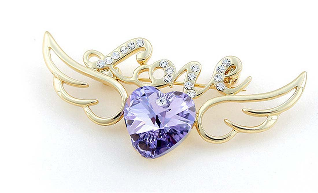 Blingbling Jewelry Gold Plated Austria Crystal Lovely Wig Heart Love Brooches Pins for Women Girl Angel of Love (Violet)