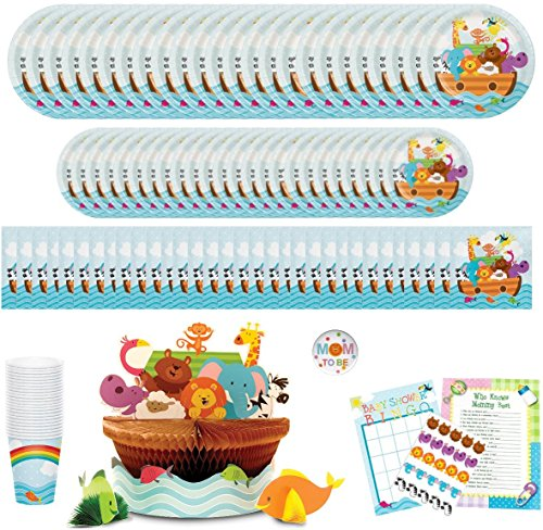 Noahs Ark Baby Shower Party Supplies: Paper Plates, Napkins, Cups, Centerpiece and Games Bundle for 24 Guests (Noah Ark Baby Shower)