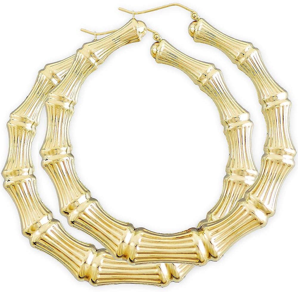 10K Yellow Gold Heart Bamboo Hoop Earrings Door Knocker Women