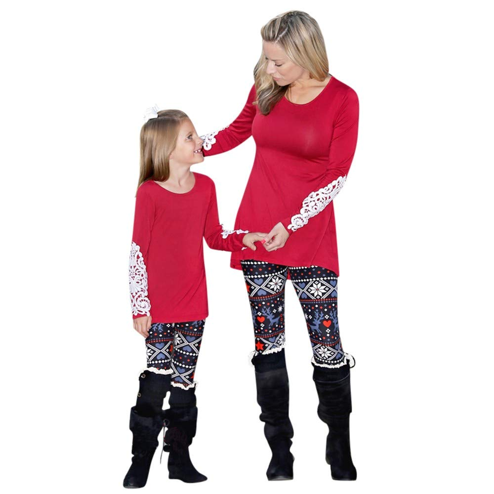 7529d0d54 Amazon.com: Christmas Mommy & Me Children Girls Star Deer Print Family Pants  Leggings Clothes: Clothing