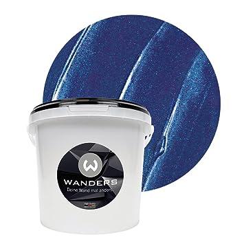 wanders24 metall optik 3 liter dunkelblau wandfarbe zum spachteln im metallic look individuelle gestaltung fur zuhause farbe made in germany