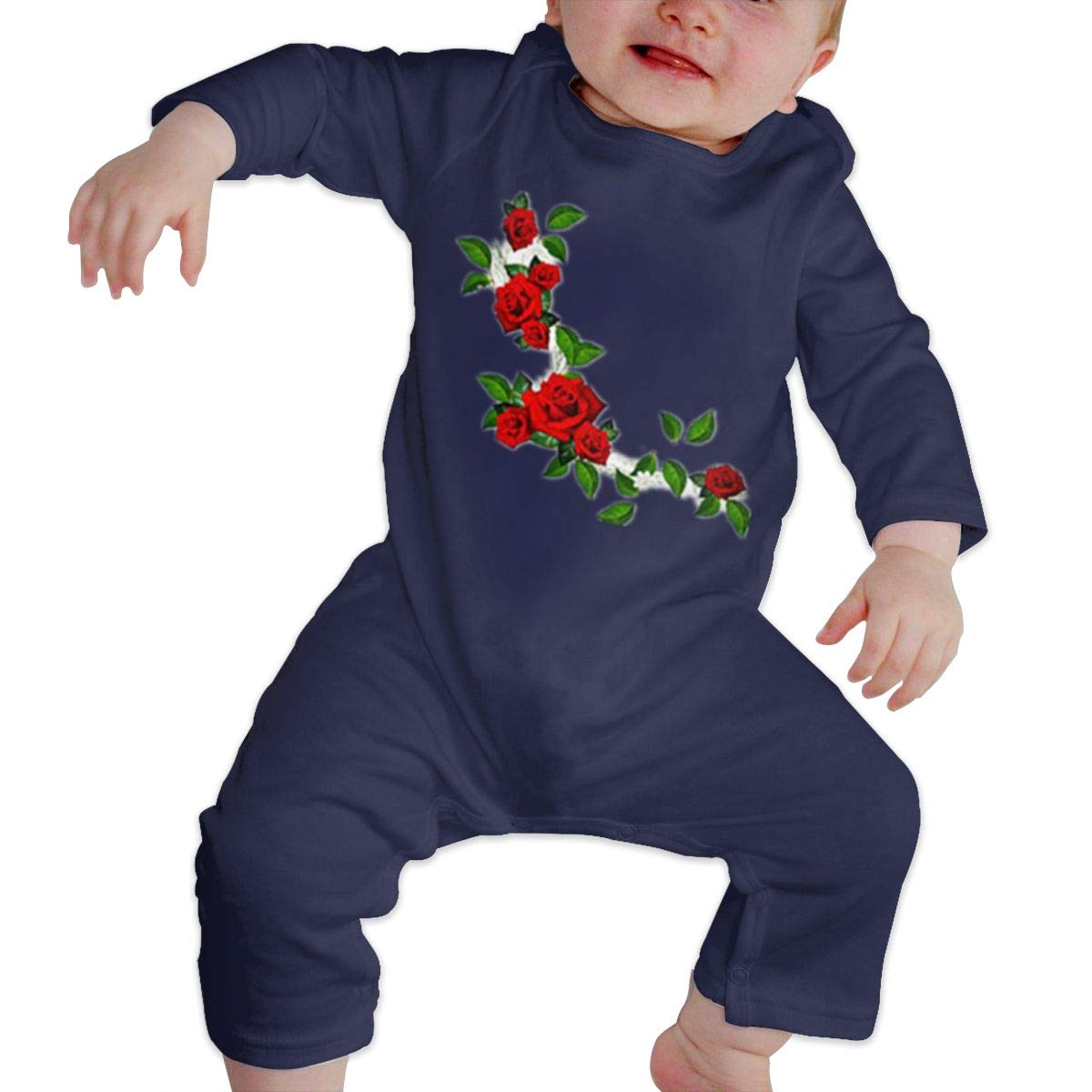 A String Rose Unisex Long Sleeve Baby Gown Baby Bodysuit Unionsuit Footed Pajamas Romper Jumpsuit