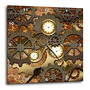 3D Rose Steampunk Gears in Golden Design Wall Clock, 10″ x 10″