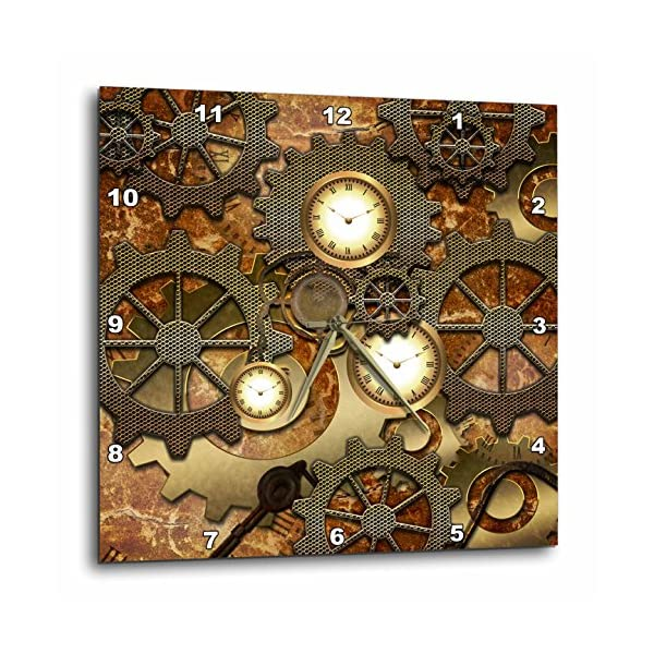 "3D Rose Steampunk Gears in Golden Design Wall Clock, 15"" x 15"" 3"