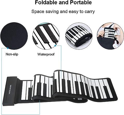 Vinteky Piano Enrollable MIDI USB de 88 Teclas Portátil Teclado Electrónico Piano Mano, Teclado eléctrico Piano Plegable, Elegante, Fácil de ...