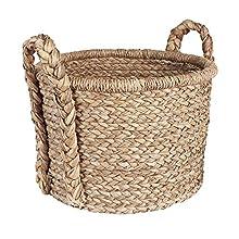 Household Essentials Large Wicker Floor Storage Basket with Braided Handle, Light Brown