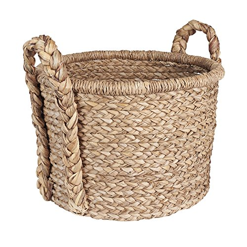 Household Essentials Large Wicker Floor Storage Basket with Braided Handle, Light Brown