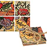 Dicksons Love Never Fails Multicolored 5 x 5 Inch Wood Coaster Set
