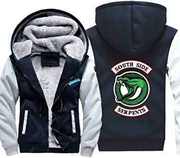 メンズパーカーフルジップベルベットSOUTH SIDE SER PENTSは冬に適し厚手のフード付きセーターコートフリースパーカーを、印刷します