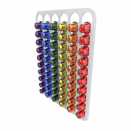 Free Trolley Token Material Sample Included per Shipment Nespresso Original line Coffee Capsule pod Holder Wall Mounted Holds 30 Capsules White
