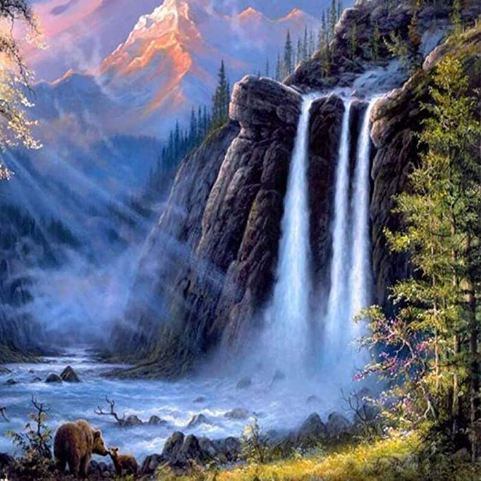 Fairylove DIY Paint by Numbers for Adults & Kids Canvas Oil Painting Kits with 3 Brushes and Acrylic Paints, Art Work for Home Wall Decor (Waterfall, 16 x 20 inch)