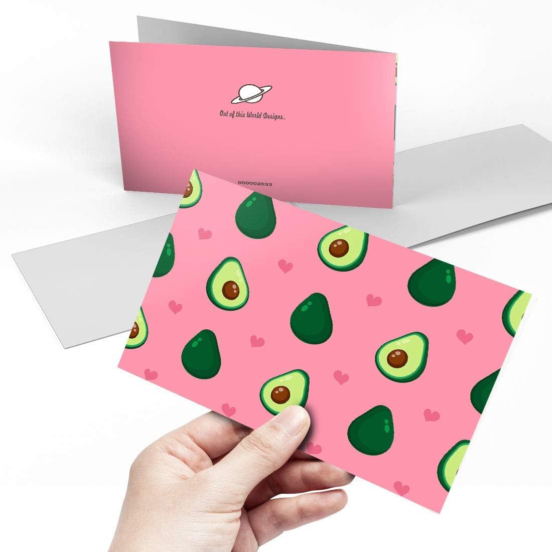 A5 dise/ño de aguacate rosa con texto en blanco Tarjeta de felicitaci/ón