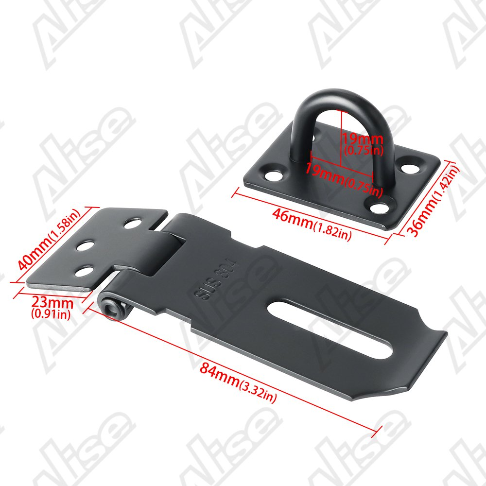 Stainless Steel Matte Black Finish Alise MS9KB-5 Right Angle Padlock Hasp Security Door Clasp Hasp Lock Latch