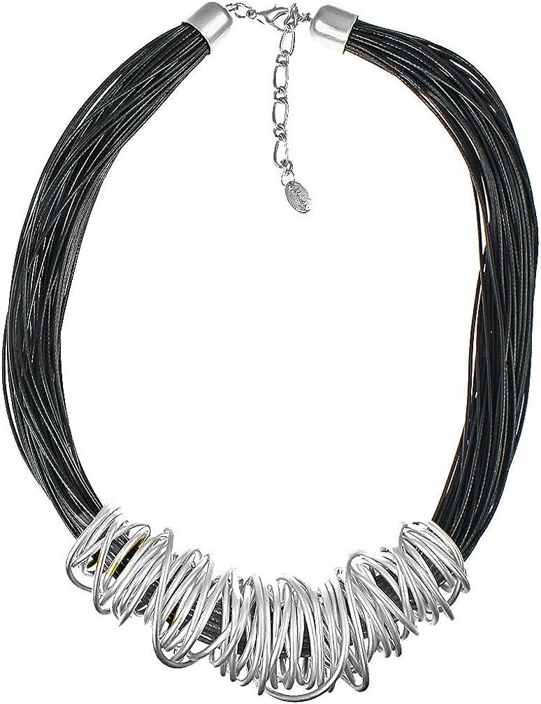 Unique Gifts On The Web Regalos únicos en la web impresionante plata grande grueso espiral envoltura alambre negro cordón de cuero moda joyería collar