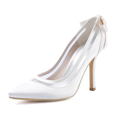ElegantPark HC1806 Women High Heel Pumps Pointed Toe Bowknots Satin Bridal  Wedding Shoes White US 5 de0bb6add235