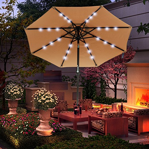 Sundale Outdoor 7 ft Solar Powered 24 LED Lighted Patio Umbrella Table Market Umbrella with Crank and Push Button Tilt for Garden, Deck, Backyard, Pool, 8 Steel Ribs, Polyester Canopy Tan