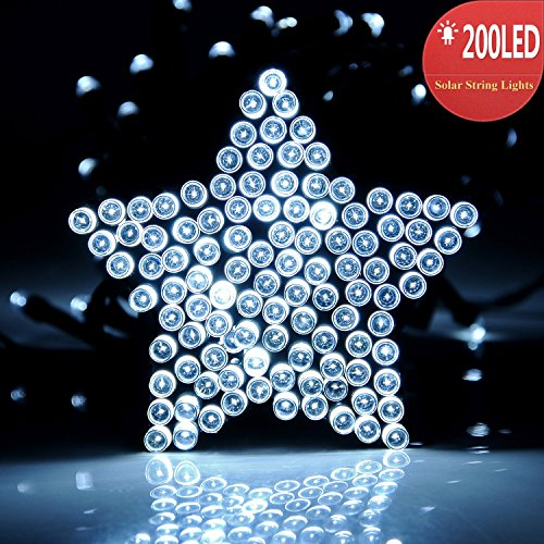 upgraded 200 led solar powered string lights by recesky 72ft christmas tree decor lighting 10 wire clip included for outdoor indoor xmas wreath yard - Solar Powered Christmas Wreath