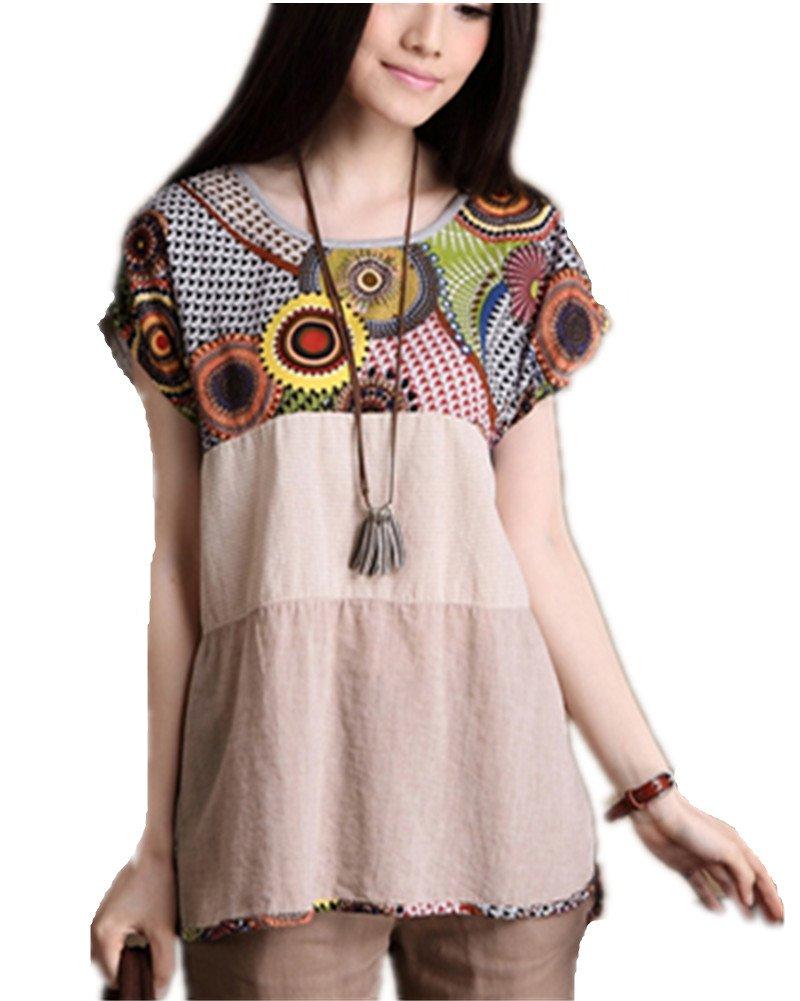 Amao Women's Large Short Sleeve Scoop Neck Cotton Top (apricot)