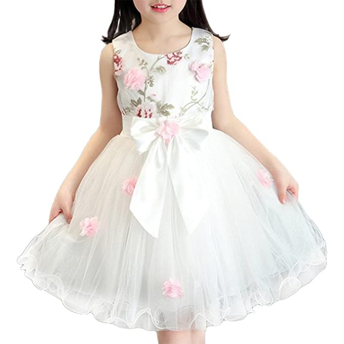12c0e8c7b Jipai TM Vestido de Niña Elegante Boda Fiesta Ceremonia con Flores ...