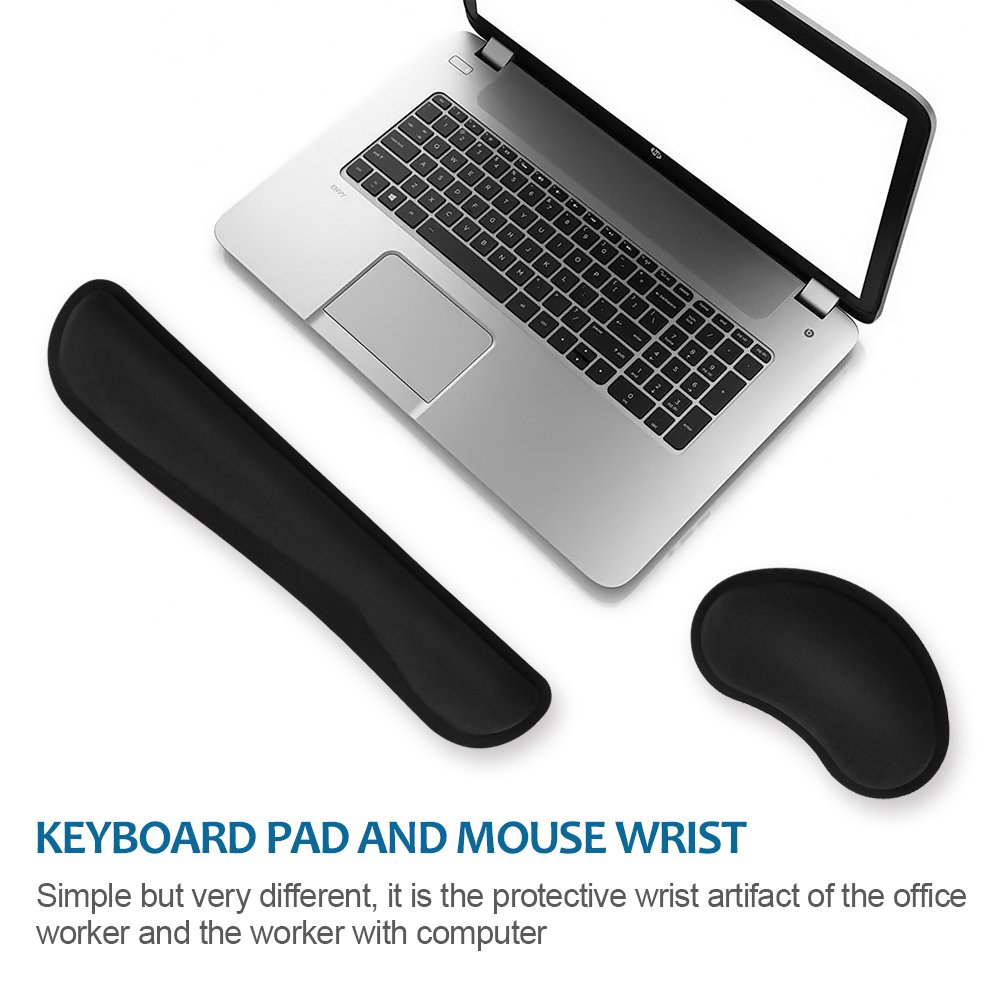 HENVREN Memory Foam Keyboard and Mouse Wrist Rest, Lightweight Support Pad for Easy Typing&Pain Relief, Durable&Comfortable Wrist Cushion Fit for Office, Computer and Home by HENVREN (Image #2)