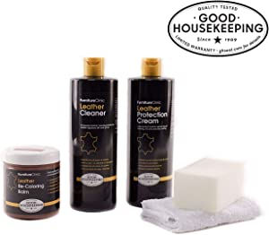 Furniture Clinic Leather Complete Restoration Kit - Set Includes Leather Recoloring Balm, Protection Cream, Cleaner, Sponge and Cloth - Restore and Repair Sofas, Car Seats and More (Black)