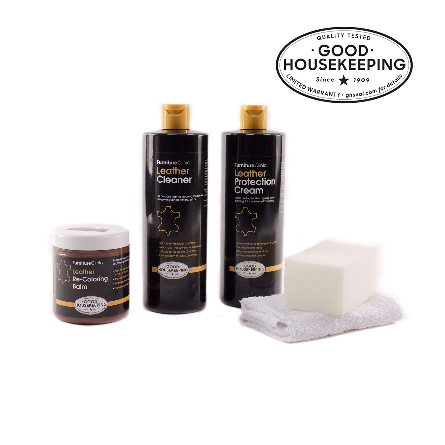 Furniture Clinic Leather Complete Restoration Kit - Set Includes Leather Recoloring Balm, Protection Cream, Cleaner, Sponge and Cloth - Restore and Repair Sofas, Car Seats and More (White)