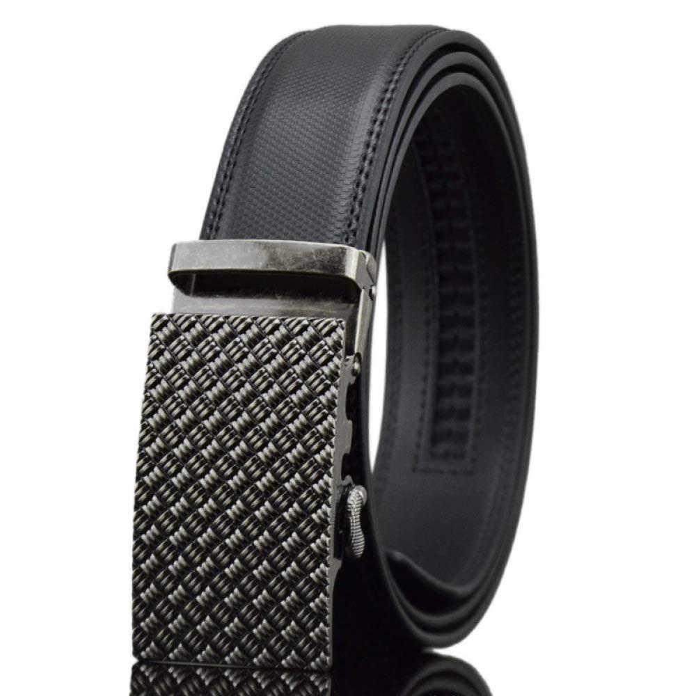 DENGDAI Casual Belt Strap Mens Automatic Buckle Leather Belt Length 110-135cm