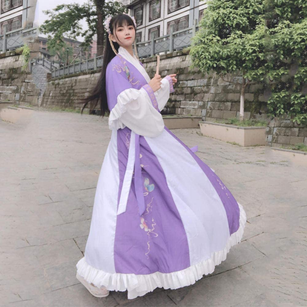 CTDMMJ Hanfu cherry blossom costume summer student full set of ancient style Butterfly Love Flower Purple 6 Meters Collared To