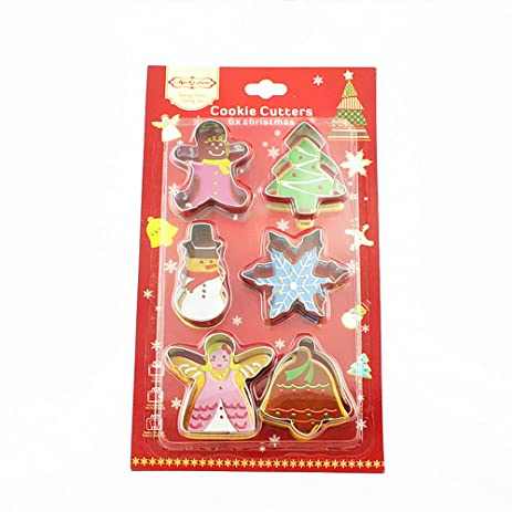 small metal christmas cookie cutter set for kids 6 assorted stainless steel mini cutouts cutters - Small Metal Christmas Tree