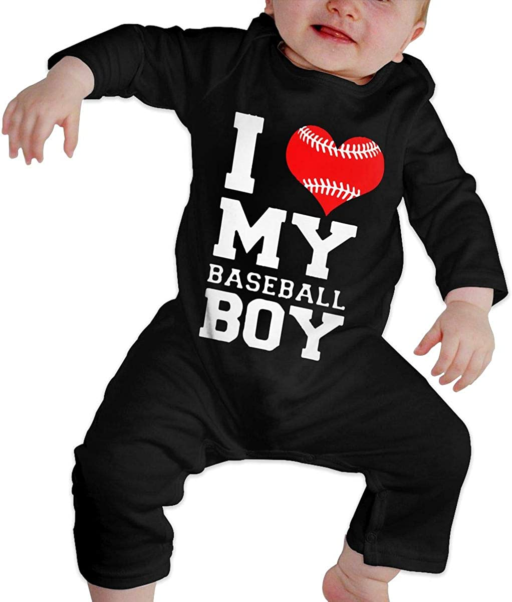 I Love My Baseball Boy Organic One-Piece Bodysuits Coverall Outfits Toddler Baby Boy Romper Jumpsuit