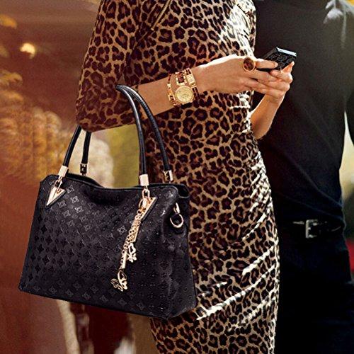 Tinksky 4pcs Borse in pelle da donna Borsa a tracolla superiore maniglia + Tote Bag + Borsa a tracolla + Portafoglio (nero) Regalo di Natale