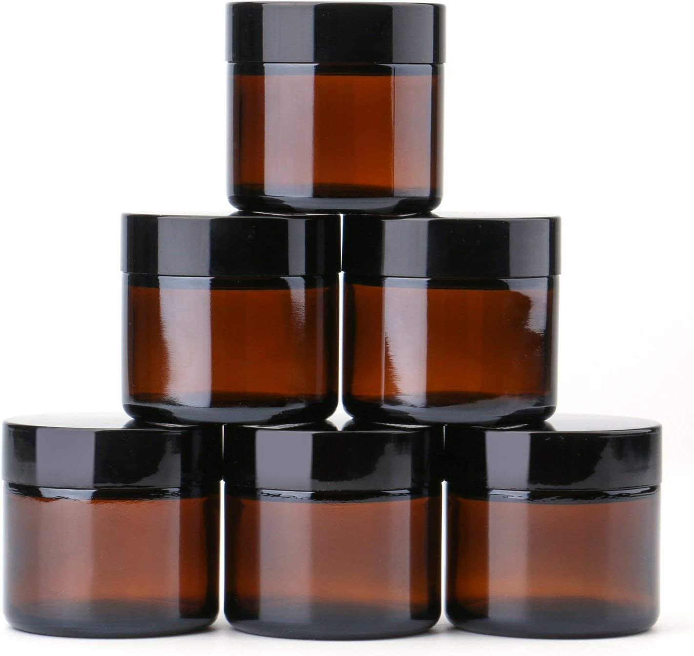 THETIS Frascos de Vidrio Redondos de 60ml (6 Paquete de) - Envases Cosméticos Vacíos con Forros Interiores, Tapas Negras y Frascos de Muestras de Vidrio con Etiquetas(Amber)