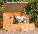 Wooden Garden Storage Chest Box with Removable Front Panel and Hinged Lid - Tongue & Groove Construction